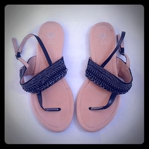 G.c. shoes black chain thong & ankle strap sandals